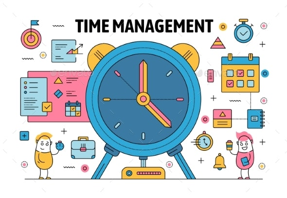Vector Thin Line Time Management Poster Banner - Concepts Business