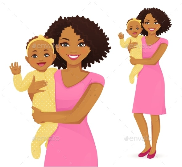 Young Mother with Baby - People Characters