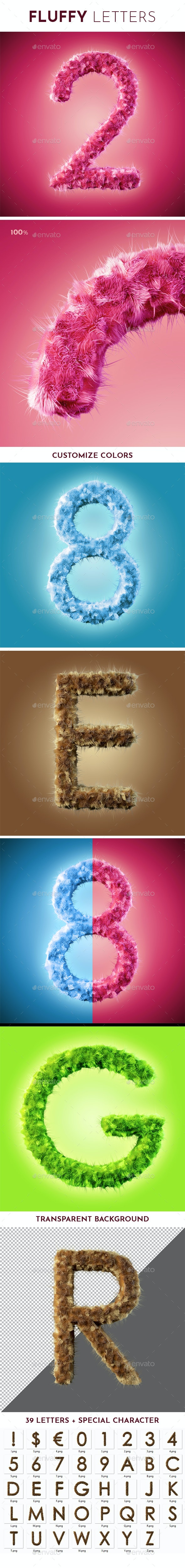 Fluffy Letters - Text 3D Renders