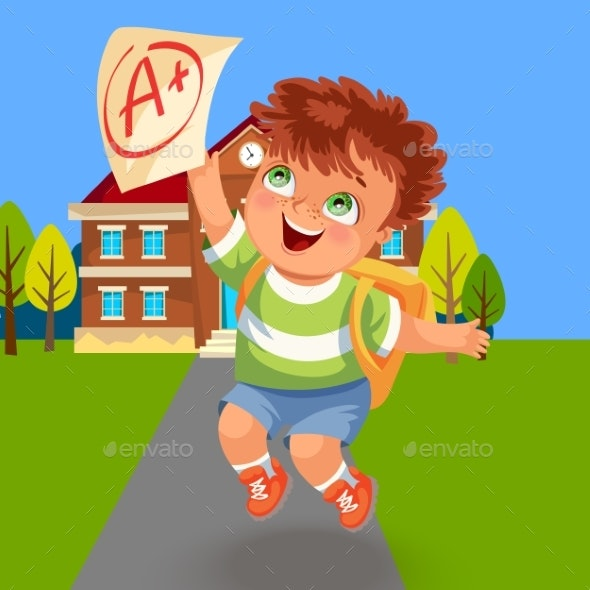 Happy School Boy with Good A Grade Paper - Miscellaneous Vectors