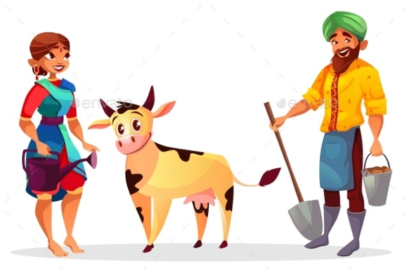 Indian Farmers and Cattle Cow Vector Illustration - People Characters