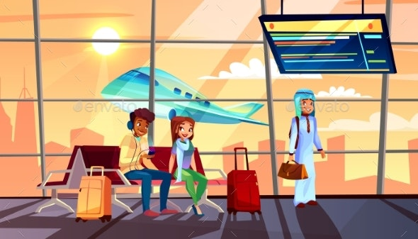People in Airport Vector Illustration - Travel Conceptual