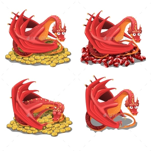 Set of Red Dragons Guarding Treasures - Animals Characters