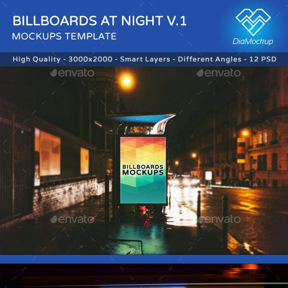 Billboards Mockups at Night Vol.1