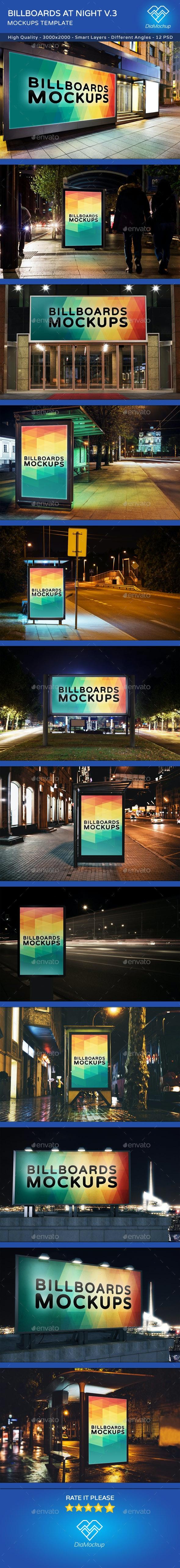 Billboards Mockups at Night Vol.3 - Posters Print