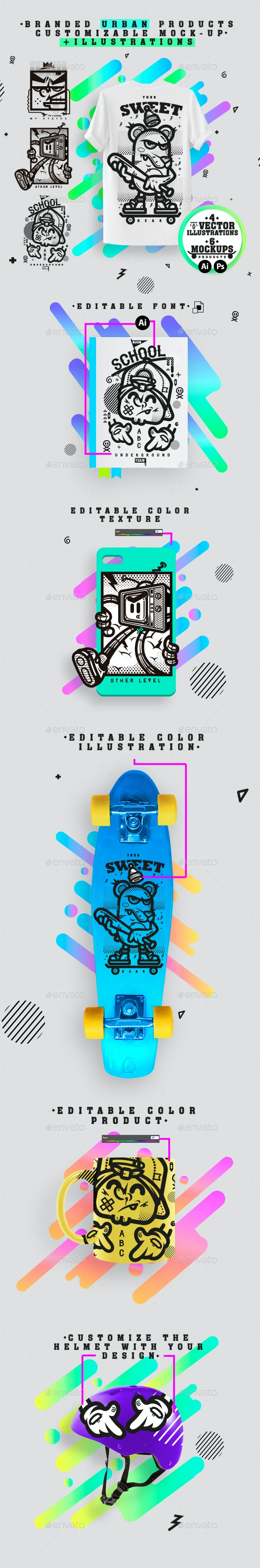 BRANDED PRODUCTOS URBANS WITH ILLUSTRATIONS