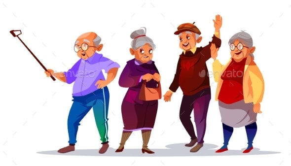 Old People Making Photo Selfie Vector Illustration - People Characters