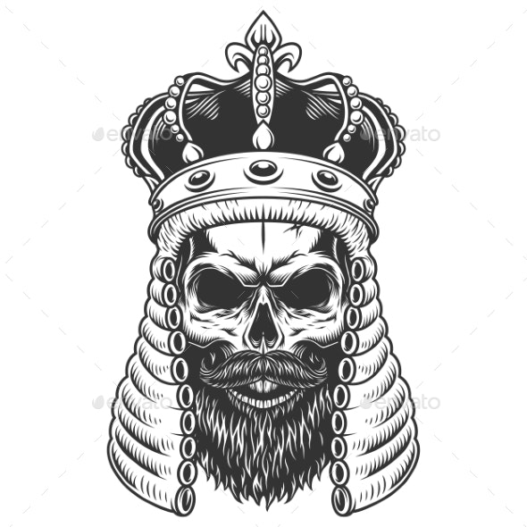 Skull in a Judge Wig - Miscellaneous Vectors