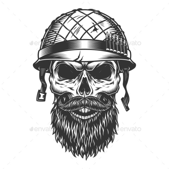 Skull in the Soldier Helmet - Man-made Objects Objects