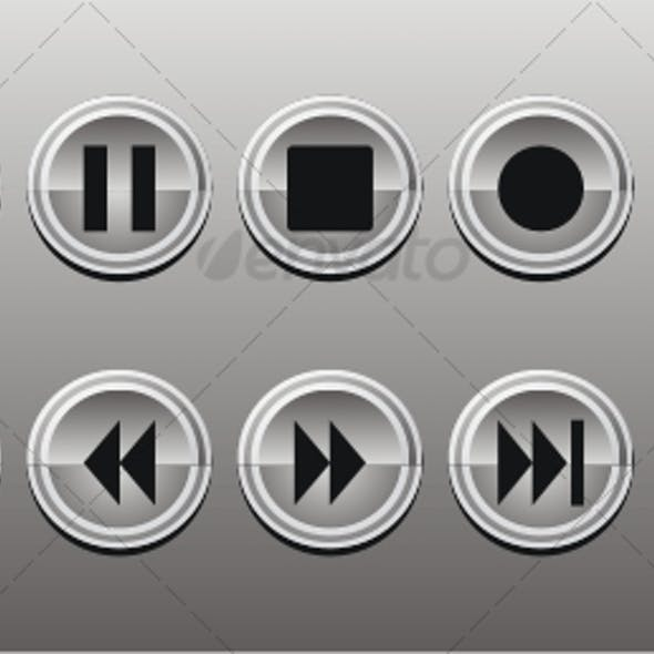 Buttons Media Panel Icon Set