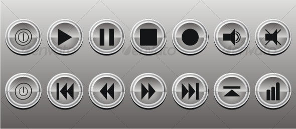 Buttons Media Panel Icon Set - Media Icons