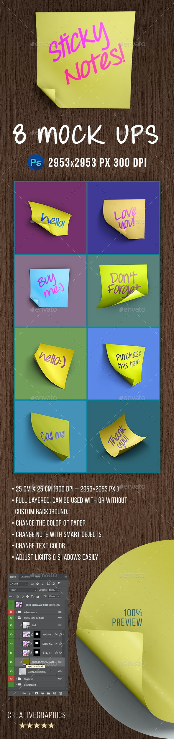 Sticky Notes PS Mockups - Miscellaneous Product Mock-Ups