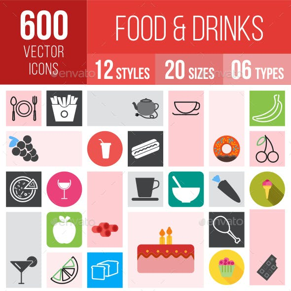 600 Food & Drinks Icons