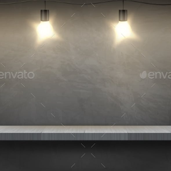 Vector Mockup with Empty Shelf and Electric Bulbs