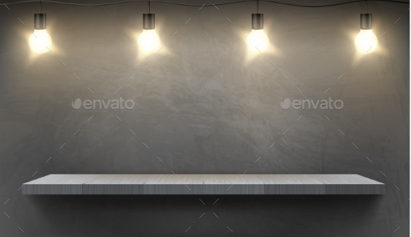 Vector Mockup with Empty Shelf and Electric Bulbs - Backgrounds Decorative
