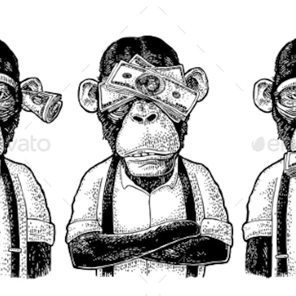 Three Wise Monkeys Not See, Not Hear, Not Speak