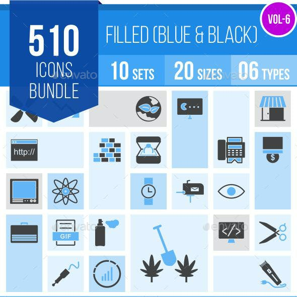 510 Vector Blue & Black Filled Icons Bundle