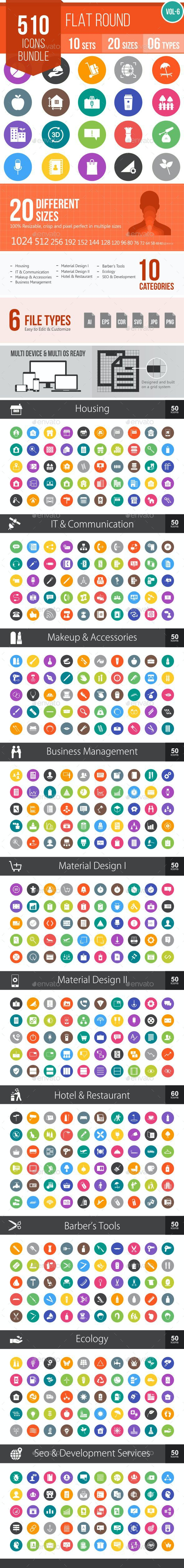 510 Vector Colorful Round Flat Icons Bundle - Icons