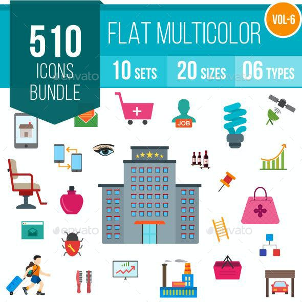 510 Vector Colorful Flat Icons Bundle