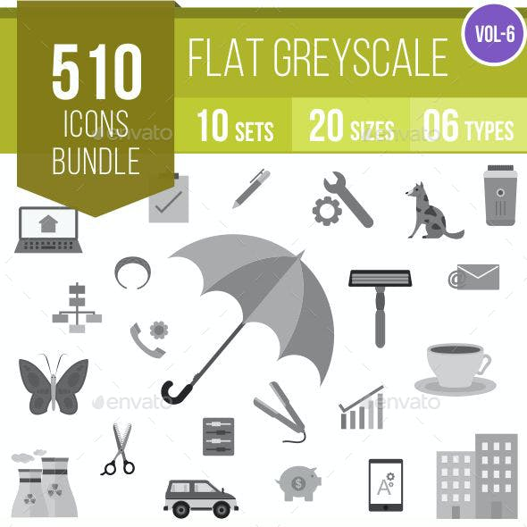 510 Vector Greyscale Flat Icons Bundle
