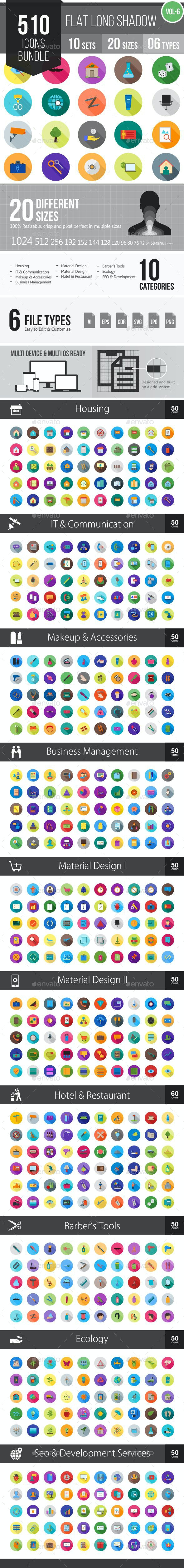 510 Vector Long Shadow Colorful Flat Icons Bundle - Icons