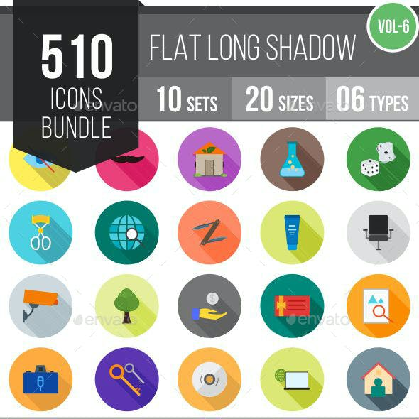 510 Vector Long Shadow Colorful Flat Icons Bundle