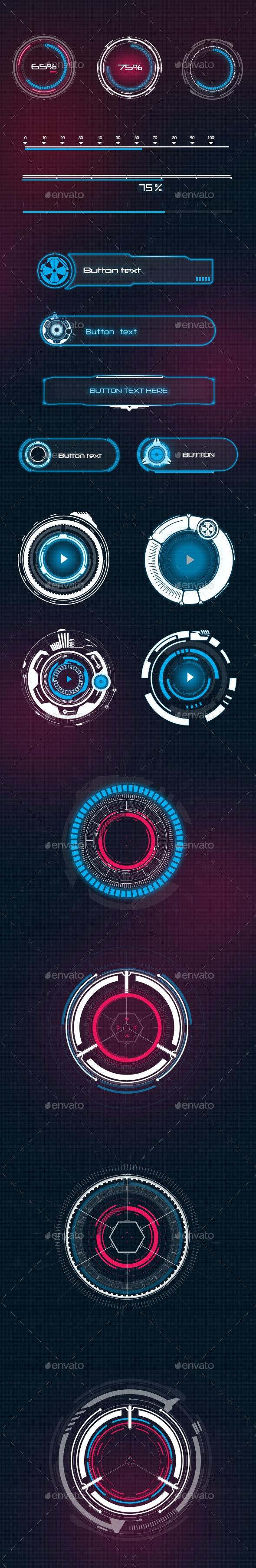 Futuristic Style Sci-Fi UI Elements - Miscellaneous Game Assets