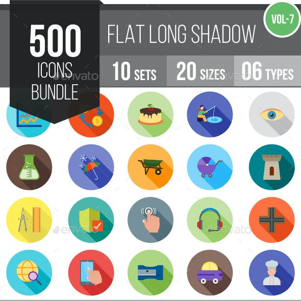 500 Vector Long Shadow Colorful Flat Icons Bundle (Vol-7)
