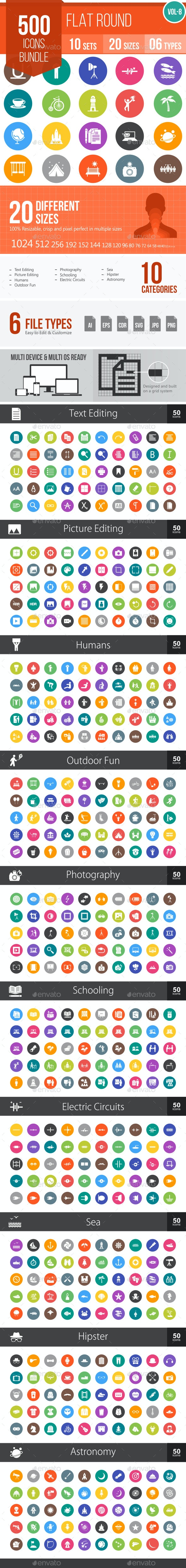 500 Vector Colorful Round Flat Icons Bundle (Vol-8)