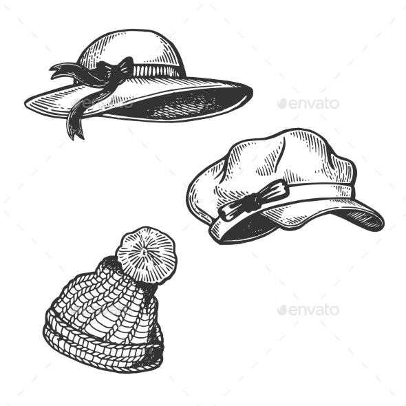 Woman Hats Engraving Vector Illustration - Man-made Objects Objects