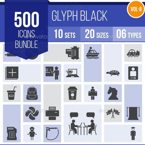510 Vector Glyph Icons Bundle (Vol-9)