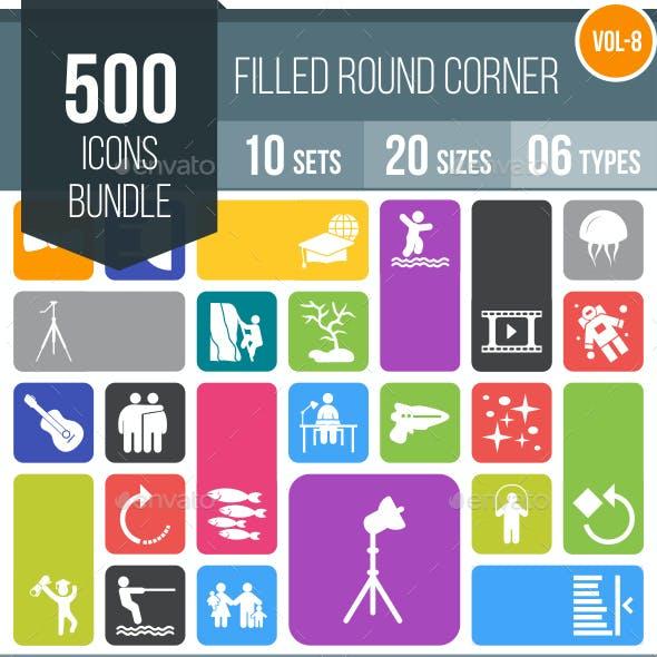 510 Vector Round Corner Colorful Flat Icons Bundle (Vol-9)