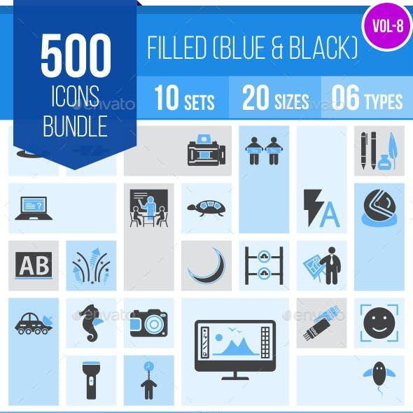 510 Vector Blue & Black Filled Icons Bundle (Vol-9)
