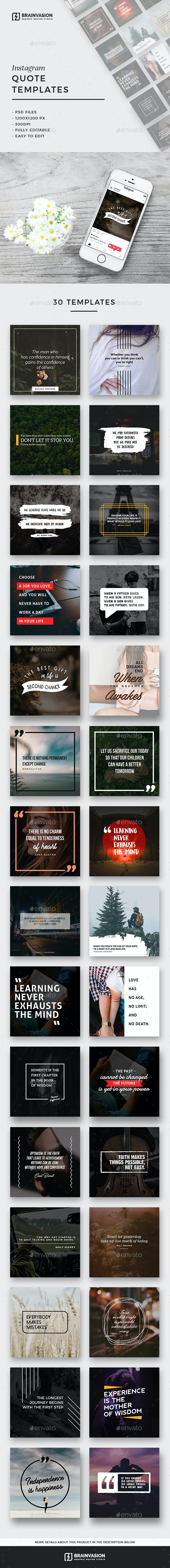 30 Instagram Quote Templates - Social Media Web Elements