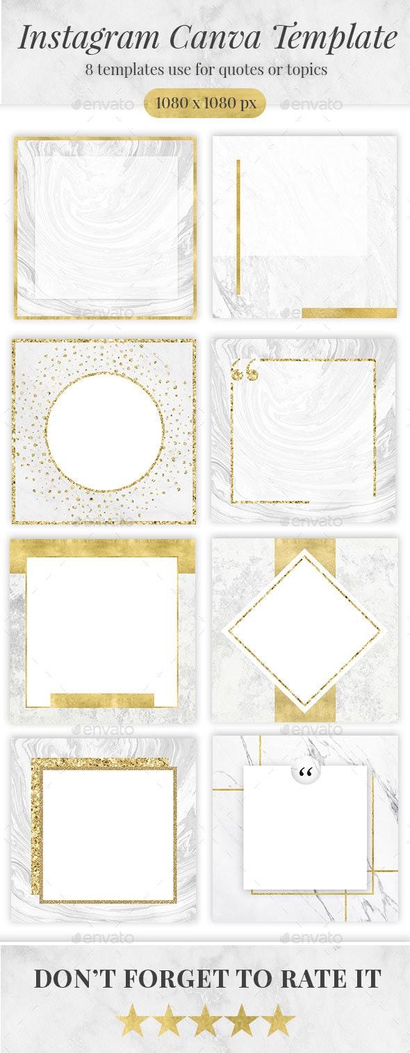 Golden Marble Canva Social media Template - Social Media Web Elements