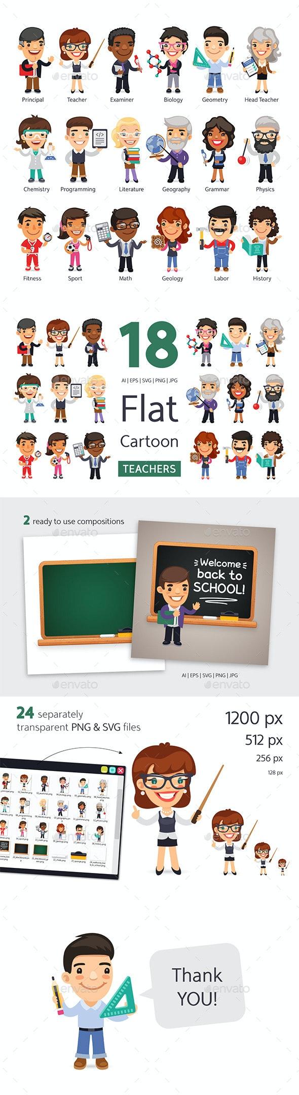 Teachers Flat Cartoon Characters - People Characters