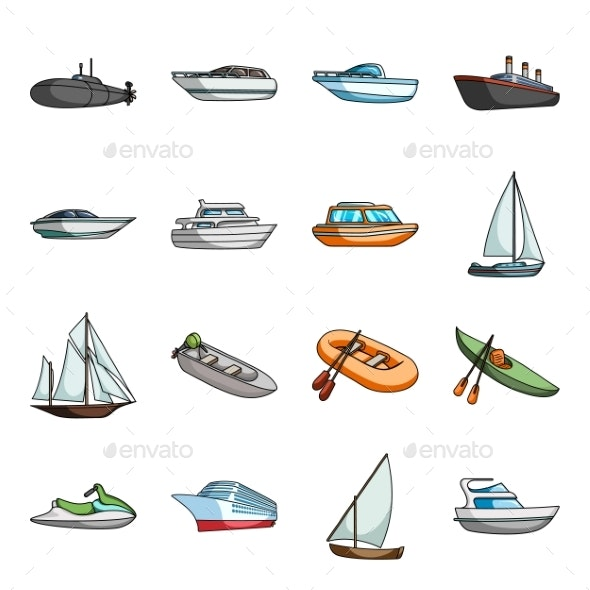 Water and Sea Transport Cartoon Icons - Man-made Objects Objects