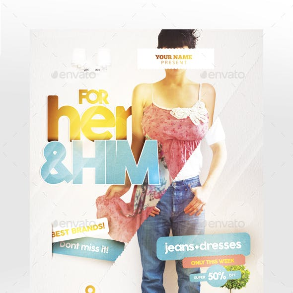 For Her & Him Flyer Template