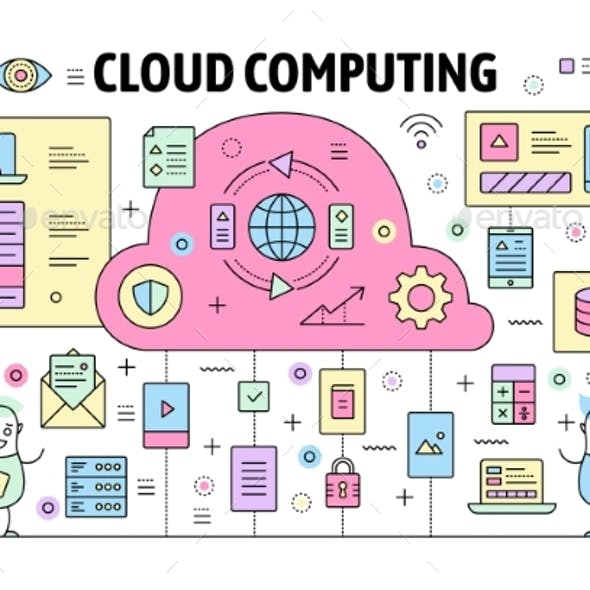 Vector Thin Line Cloud Computing Poster Banner