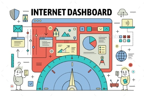 Vector Thin Line Dashboard Poster Banner Template - Web Technology