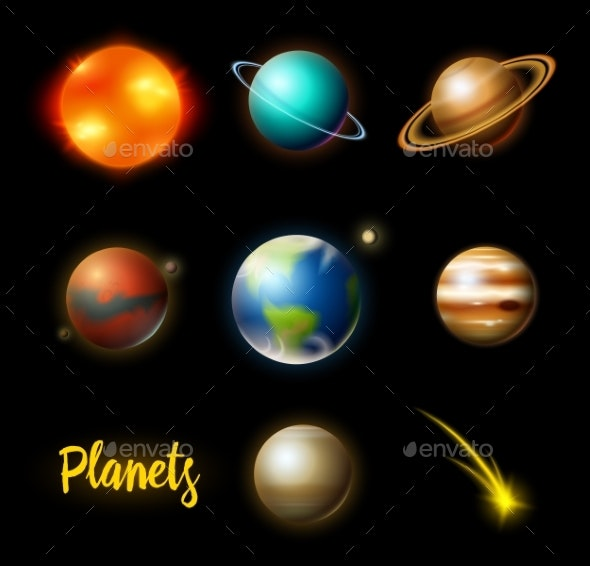 Planets in Solar System - Miscellaneous Vectors