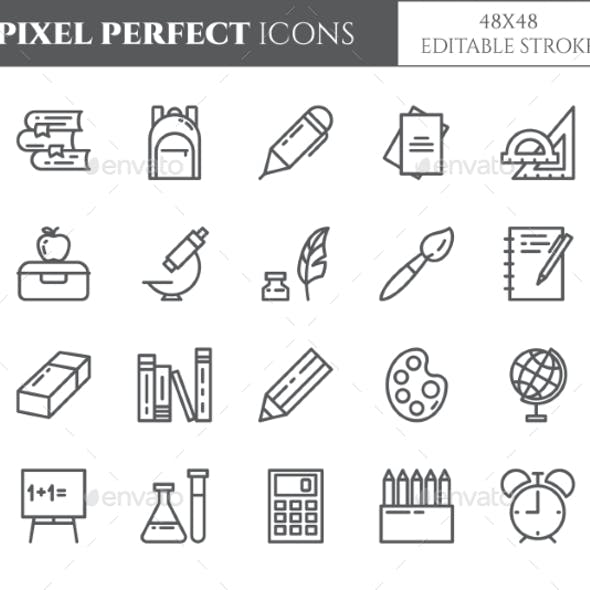 School Supplies Editable Pixel Perfect Icons Set
