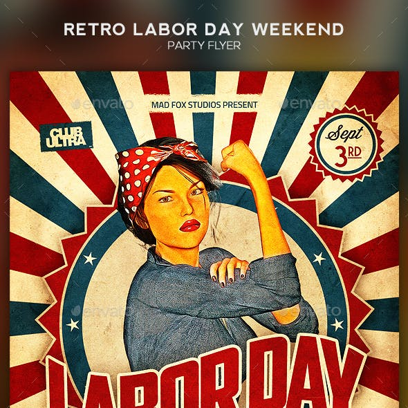 Retro Labor Day Weekend Party Flyer