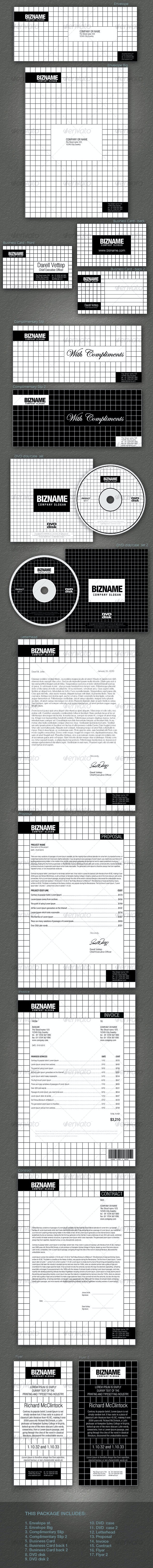 FULL CORPORATE ID PACKAGE - BIZNAME v1 - Stationery Print Templates