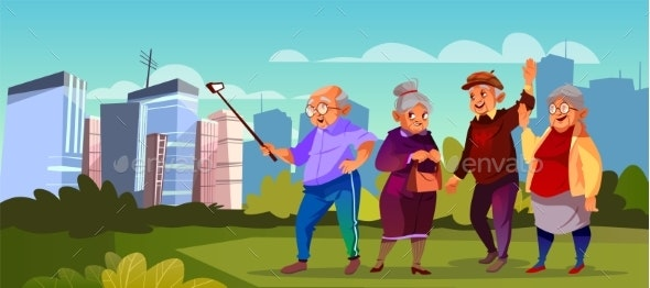 Vector Old People with Selfie Stick Pensioners - People Characters