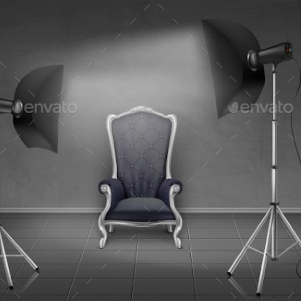 Vector Photo Studio with Armchair and Softboxes