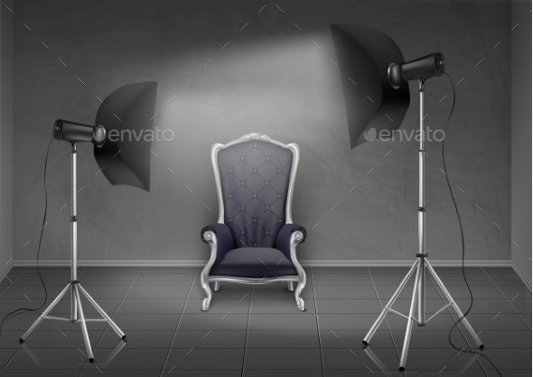 Vector Photo Studio with Armchair and Softboxes - Miscellaneous Vectors