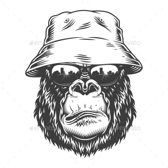 Serious Gorilla in Monochrome Style - Animals Characters