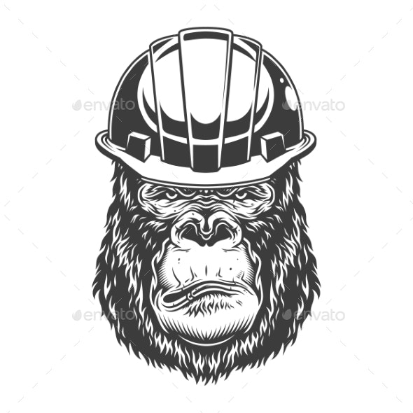 Serious Gorilla in Monochrome Style - Industries Business