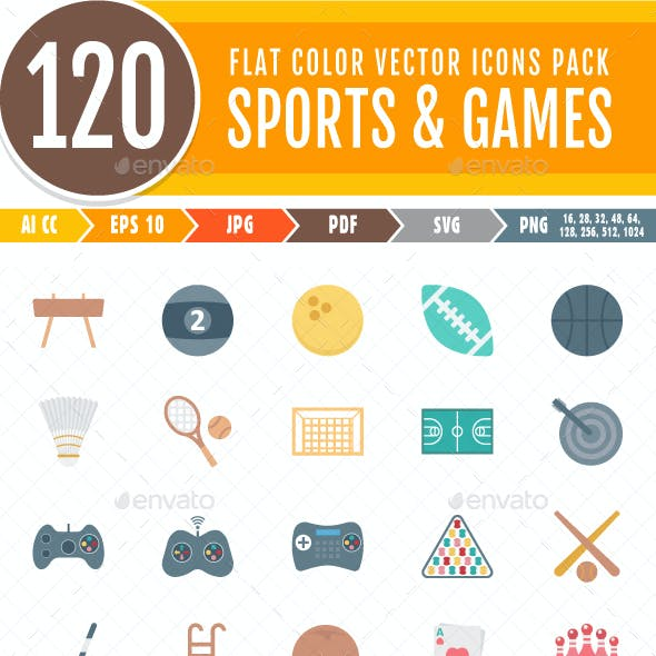 120 Sports and Game Color Vector Isolated Icons